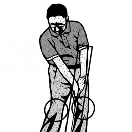 ダウンブローのインパクトは下半身をグーッと左に押し込む