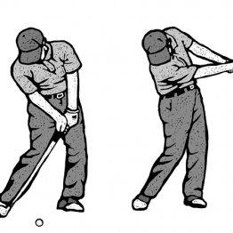 インサイドからボールに当たる瞬間フェースはやや右を向く