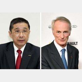 日産自動車の西川広人社長兼CEO(左)とルノーのスナール会長(C)共同通信社