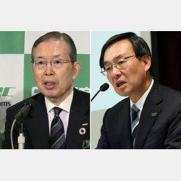 パナソニックの津賀社長(右)と日本電産の永守会長/(C)共同通信社