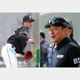 荒木大輔二軍監督兼コーチ(右)と吉田輝星(C)日刊ゲンダイ
