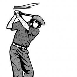 バックスイングはグリップエンドを飛球線方向に向ける