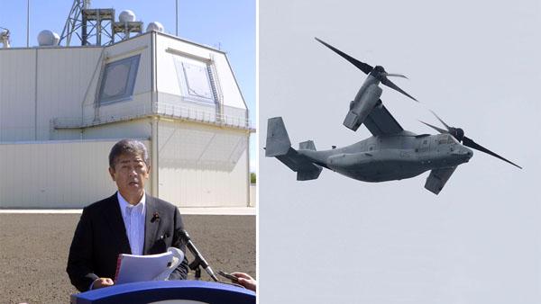 地上「イージス・アショア」を視察し会見する岩屋防衛相(右は沖縄上空を飛行するオスプレイ)/(C)共同通信社