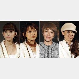 (左から)上原多香子、島袋寛子、今井絵理子、新垣仁絵(C)日刊ゲンダイ