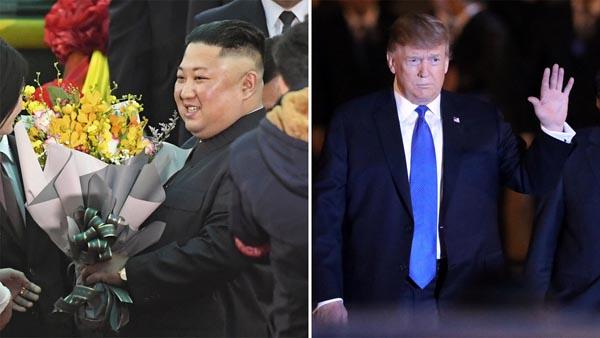 ハノイの空港に到着したトランプ米大統領(右)と歓迎される金正恩朝鮮労働党委員長(C)ロイター、共同通信社