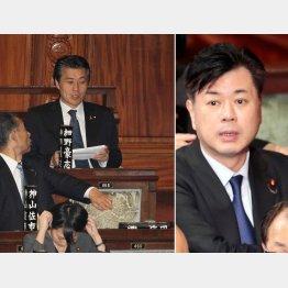 辞職した田畑議員(右)の後ろの席には細野議員が…(C)日刊ゲンダイ
