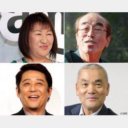 (左上から時計回りに)北斗晶、志村けん、岩合光昭、坂上忍(C)日刊ゲンダイ