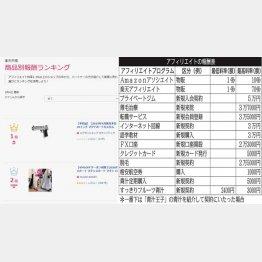 楽天アフィリエイトの報酬ランキング(左、3月4日付)/(C)日刊ゲンダイ