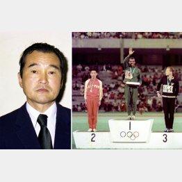 銀メダルの君原は東京五輪8位の借りを返した(金はM・ウォルデ=エチオピア、銅はM・ライアン=ニュージーランド)。左は君原を指導していた高橋進氏/(C)共同通信社