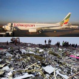 墜落した同型機(上)と機体の残骸が散乱する現場