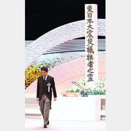 東日本大震災から8年、政府主催の追悼式で式辞を述べた安倍首相(代表撮影)