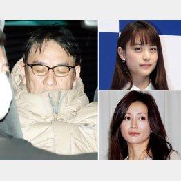 逮捕されたピエール瀧容疑者(左)と山本美月(右上)と酒井法子(C)日刊ゲンダイ