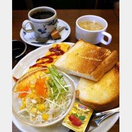1番人気のバタートーストセット(540円、モーニング)(C)日刊ゲンダイ