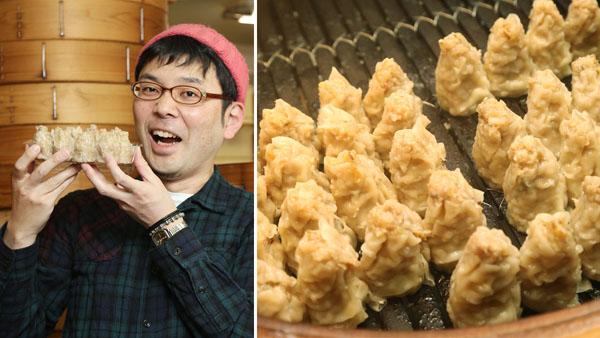 焼売ジャーナリストのシュウマイ潤さんと「また明日。」の肉焼売(提供写真)