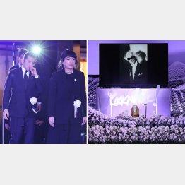 内田裕也さんの告別式。左は喪主の也哉子さんと夫の本木雅弘(代表撮影)
