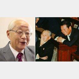 政治ジャーナリストの田﨑史郎さん、右は当時の竹下登と小沢一郎両議員(C)日刊ゲンダイ
