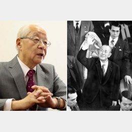 「田中さん(田中角栄元首相・右)は『じゃあ行ってくる』と出かけて行った」と、田﨑史郎さん(C)日刊ゲンダイ