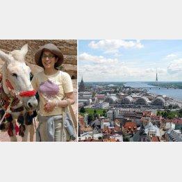 聖ペトロ教会から眺めたラトビア・首都リガの街並み、左はSannaさん(提供 Sanna)