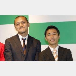 お笑いコンビ「カミナリ」。竹内まなぶ(左)と相方の石田たくみ(C)日刊ゲンダイ