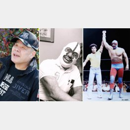 全日本プロレス名誉レフェリーの和田京平さん、右はドスカラスと本人。中央はデストロイヤー(C)日刊ゲンダイ