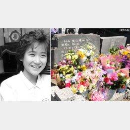 岡田有希子さん(左)の墓前には多くの花が(C)共同通信社