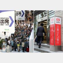 旅行業界は予約が殺到、三菱UFJ銀行は万全の態勢(C)共同通信社