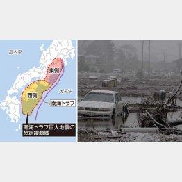 東日本大震災では気仙沼市街地に津波が押し寄せた(C)共同通信社
