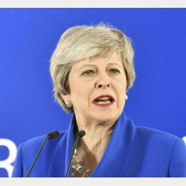 EU特別首脳会議後に記者会見する英国のメイ首相(C)共同通信社