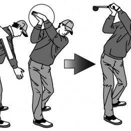 レイドオフのトップで肩の回転方向は地面と水平に近づく