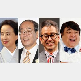 左から八千草薫、志賀廣太郎、宮本亜門、彦摩呂(C)日刊ゲンダイ