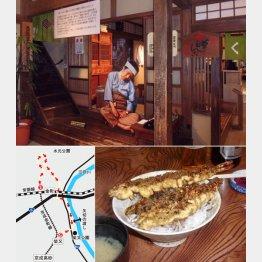 映画のまんま(上は「寅さん記念館」、下は寅さんの好物「大和家」の天丼)/(C)日刊ゲンダイ