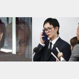 逮捕され送検された浦田容疑者(左)は保釈後、金髪を黒髪に染め直して会見に臨んだ(C)日刊ゲンダイ