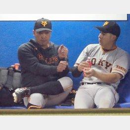 試合に出なかった阿部はベンチでビヤヌエバにアドバイス(C)日刊ゲンダイ