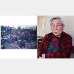 「語り部KOBE1995」として語り継ぐ崔敏夫さん(左は、1995年、阪神・淡路大震災で倒壊した街の様子)/(提供写真)