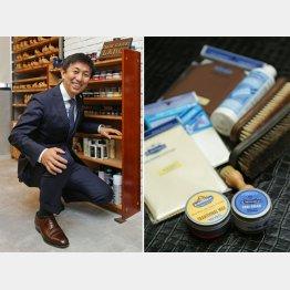 R&D社長の静孝一郎さん、靴磨きの道具一式(C)日刊ゲンダイ