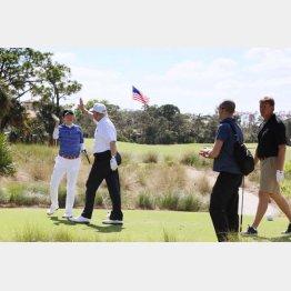 2017年には米フロリダ州でゴルフを楽しんだ二人(内閣広報室提供・共同)