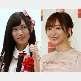 NGT山口真帆(左)と指原莉乃(C)日刊ゲンダイ