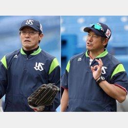 ヤクルト河田コーチ(左)と石井コーチ(C)日刊ゲンダイ
