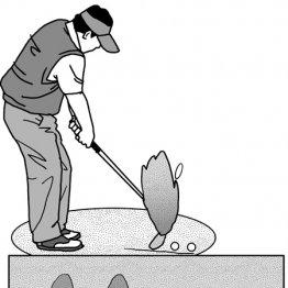 バンカーショットはソールで砂を削り取るようなイメージ