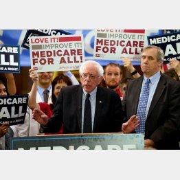 「公的医療保険制度は全国民に」と説く米民主党のバーニー・サンダース上院議員(C)ロイター