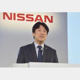 運転支援システムについて発表する日産自動車の中畔邦雄副社長(C)共同通信社