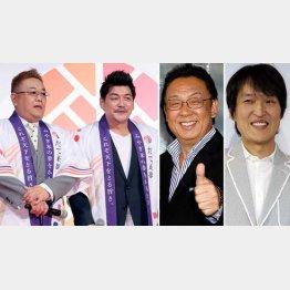 左からサンドウィッチマン、梅沢富美男、千原ジュニア(C)日刊ゲンダイ