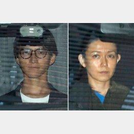 麻薬取締部から湾岸署に送致される田口淳之介容疑者(左)と小嶺麗奈容疑者(C)日刊ゲンダイ