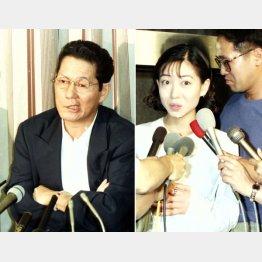 会見で不倫関係を否定した細川ふみえ(右)(C)日刊ゲンダイ