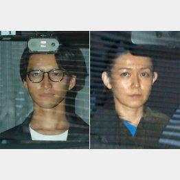 麻薬取締部から移送される田口容疑者(左)と小嶺容疑者(C)日刊ゲンダイ