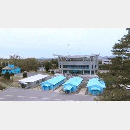 北側から見た軍事境界線と板門店の韓国側展望台(撮影・筆者)