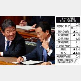 1~3月はシメシメ(右から、麻生財務相と茂木経済再生相)/(C)日刊ゲンダイ