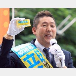都知事選立候補時の立花孝志氏(C)日刊ゲンダイ