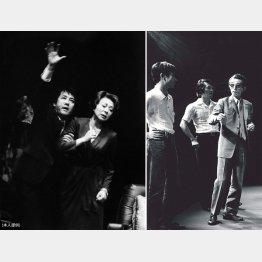 79年10月韓国ソウルで、「劇団昴」公演「海は青く深く」(左=本人と鳳八千代。右の右端が福田恆存先生)/(提供写真)