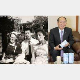 ユーハイムの河本武会長(左は1964年入社当時、創業者のエリーゼ・ユーハイムさん=左、と)/(C)日刊ゲンダイ